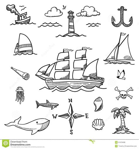 doodle boat boat and sea doodles stock vector image 51678498