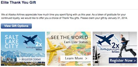 Alaska Airlines Gift Card - alaska airlines 2014 elite thank you gift one mile at a time