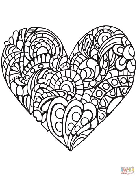 hearts coloring pages zentangle coloring page free printable coloring pages