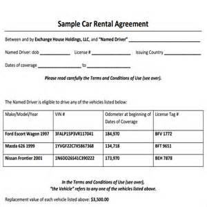 Car Rental Agreement Form Sle Car Rental Agreement 6 Documents In Pdf Word