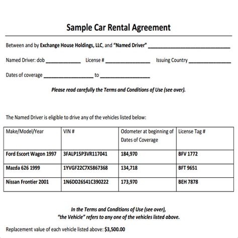 vehicle rental agreement template sle car rental agreement 6 documents in pdf word