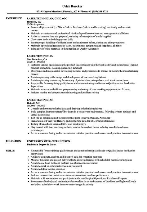 laser technician resume resume ideas