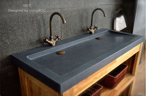 4 Hole Kitchen Faucet by 47 Quot X 19 Quot Trendy Double Trough Gray Granite Stone Double