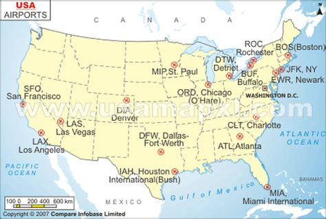 major airports in usa map major airports and stations the usa