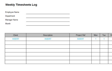 weekly time log template timesheets payslips bizorb