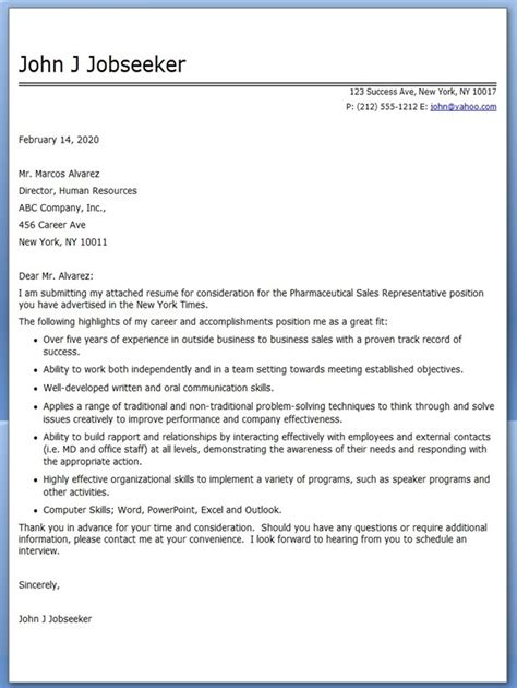 Sales Resume Cover Letter pharmaceutical sales cover letter exle resume downloads
