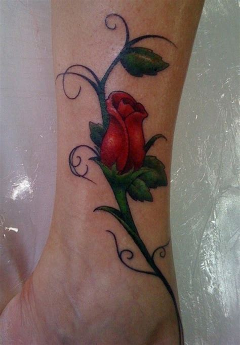 rose vine leg tattoo designs fhasion style 2015