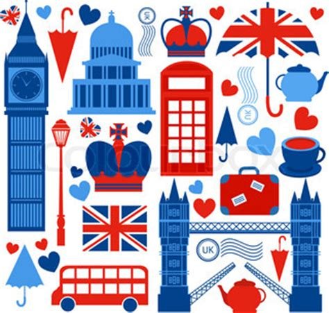 icons of england retro style poster with london symbols and landmarks vector colourbox