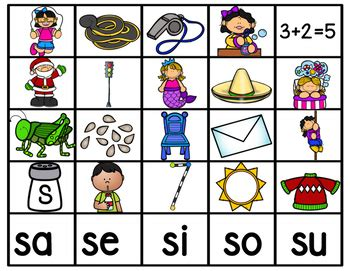 imagenes que empiecen con la letra sa se si so su sa se si so su by bilingual printable resources tpt