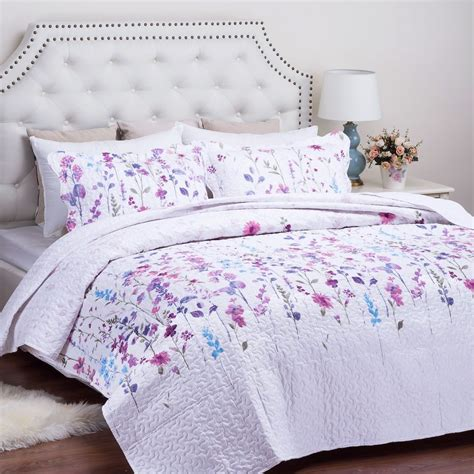 flower design quilt set king size quilted bedspread lilac floral pattern printed