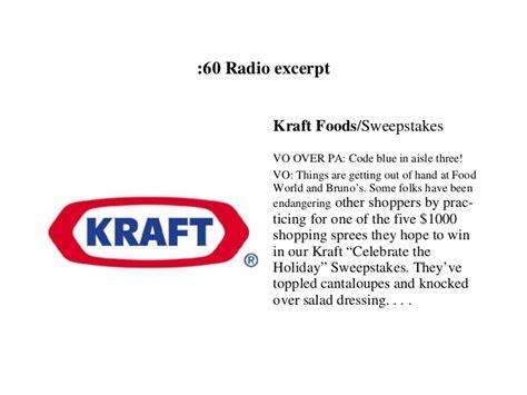 Kraft Foods Sweepstakes - atlanta copywriter portfolio georgia dzurica