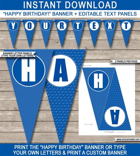 printable happy birthday banner blue pool party banner template happy birthday banner