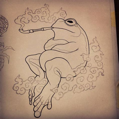 tattoo flash pen frog smoke pipe sketch illustration artwork drawing