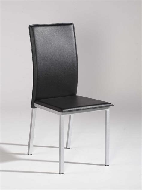 Simple Design Black Leather Dining Chair with Silver Legs