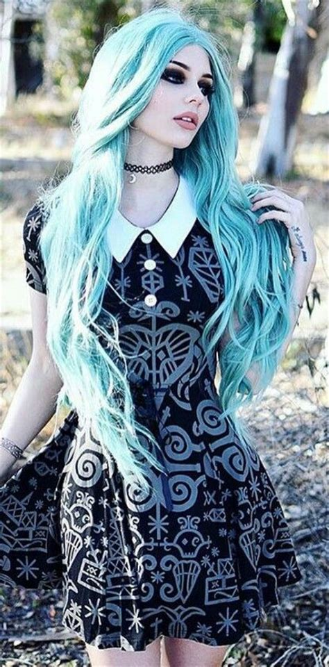 gothic girl with bright red hair 17 cool halloween blue hair scene hair blue hair and scene