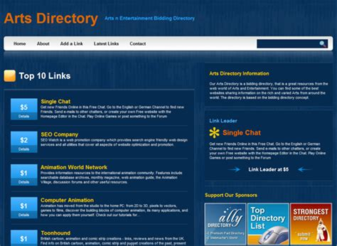 templates for directory website blue pearl template phplinkbid templates ally web
