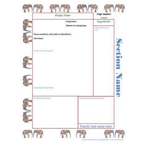 Template For Recipe Book recipe book template