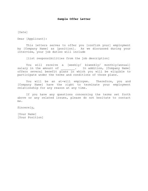 Offer Letter For A Sle Format Of Offer Letter Best Template Collection