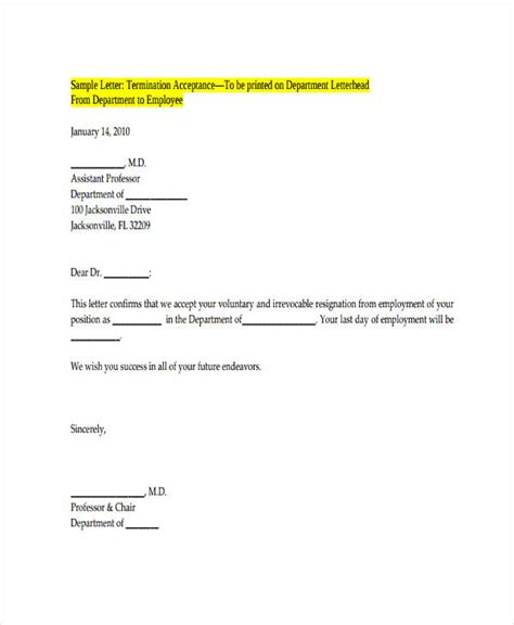 voluntary termination letter template 55 termination letter exles sles pdf doc