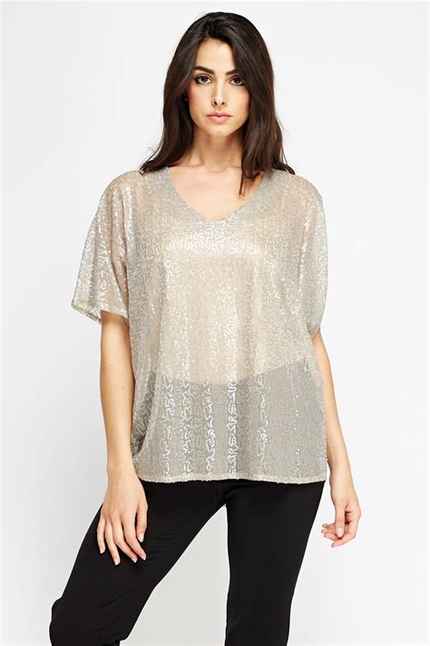 best grey grey sequin top just 163 5