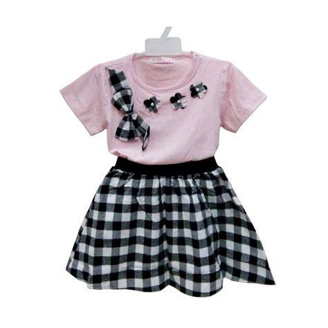 Setelan Baju Anak Perempuan Brand jual import kid kotak setelan baju anak perempuan hitam