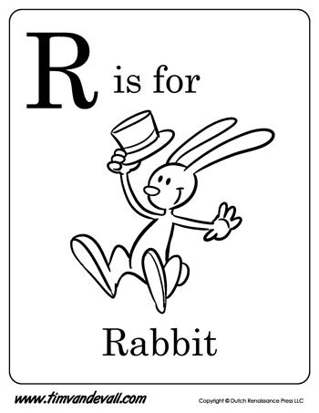 R For Rabbit Coloring Page by R Is For Rabbit Letter R Coloring Page Pdf