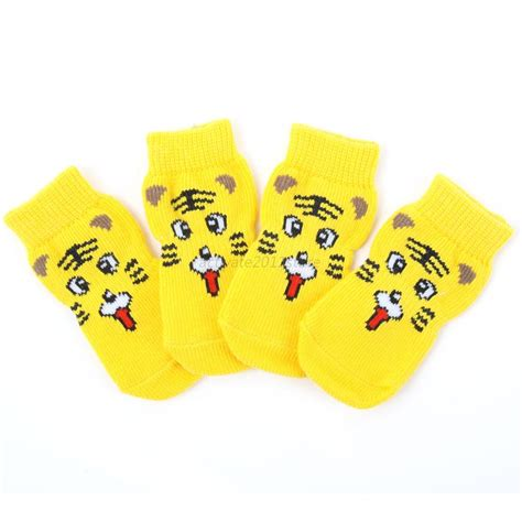 Pet Cotton Socks Set 4pcs Blue 4pcs set pet dogs soft cotton socks anti slip rubber knit