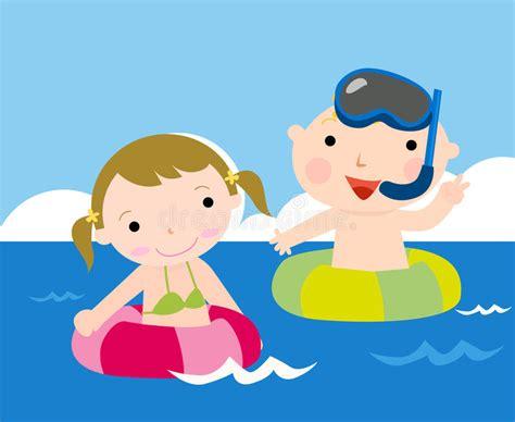 bambini clipart bambini al mare illustrazione vettoriale illustrazione di