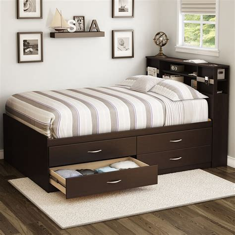 Size Storage Bed by Bed Frame Size 4 Storage Drawers Wood Furniture