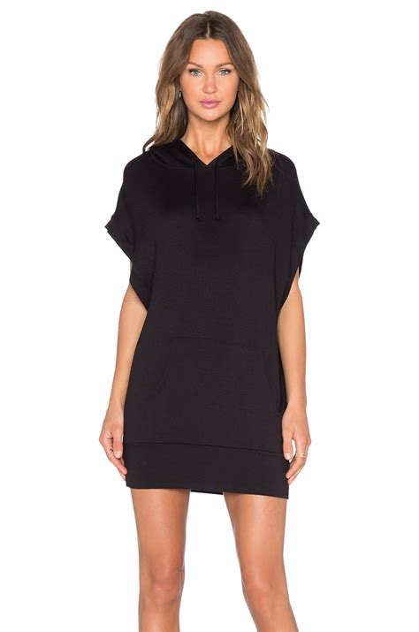 T Shirt Wanita Tunic lyst riller fount hooded t shirt tunic in black