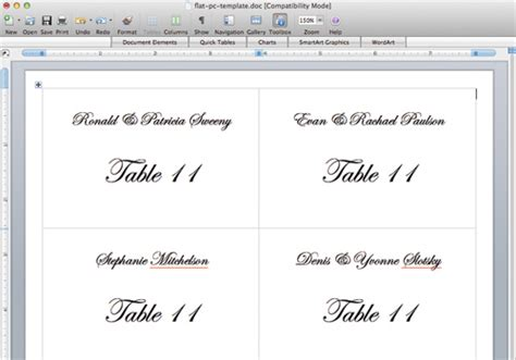 template for flat place card in word flat place cards printed in 5 steps