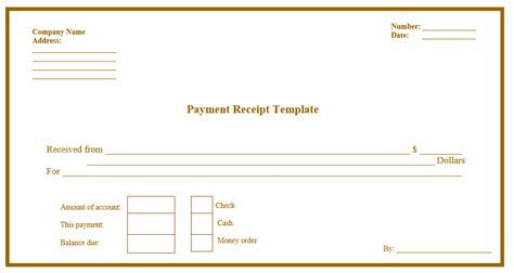 payment receipt template printable templates