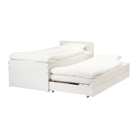 SLÄKT Bed frame w/pull out bed storage IKEA