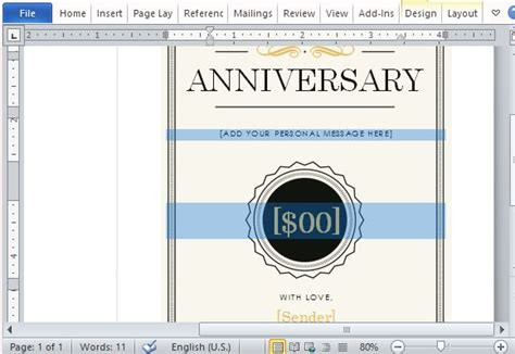 anniversary gift card templates for microsoft word how to create a printable anniversary gift certificate
