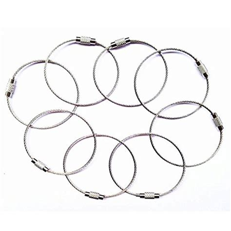Key Ring 8pcs 8pcs stainless steel cable key ring keychain with