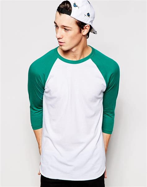 Raglan Logo 05 Ordinal Apparel american apparel 3 4 sleeve raglan t shirt in green for