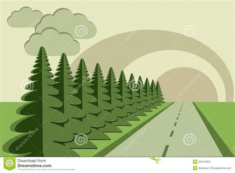 Paper Craft Tree - road fir trees sky papercraft stock vector image 25014354