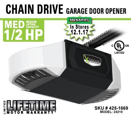 Xtreme Garage Door Opener 425 1669 1 2hp Chain Drive Opener