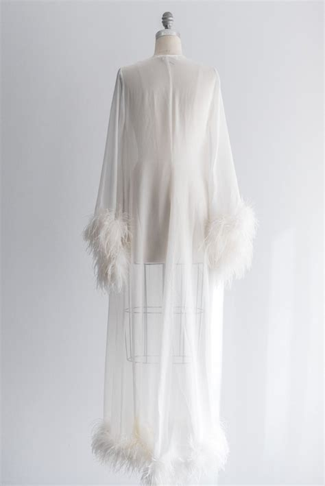 big thing 1970s and feathers on pinterest 1970s vintage chiffon and ostrich feather robe m l g o