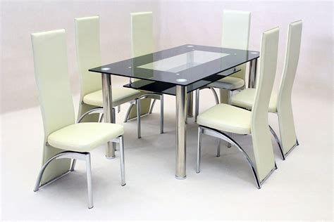 Black Glass Dining Table 6 Chairs 187 Gallery Dining 6 Dining Table Chairs