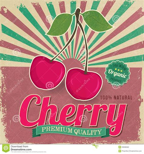 colorful vintage cherry label poster vector stock vector