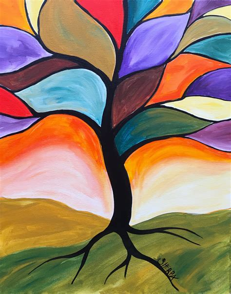 design art lessons fall stained glass tree easy peasy acrylic painting lesson