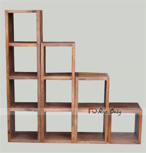 wooden detachable sheesham wood cube bookshelf bluewave