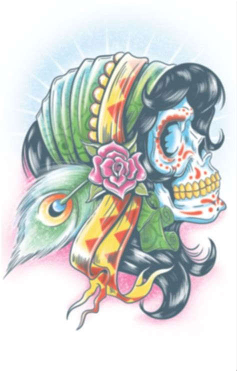 chords tattoo lady day of the dead lady gitanos temporary tattoo