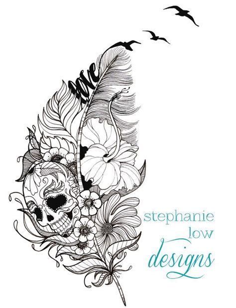 customizable tattoo design feather flower etc by