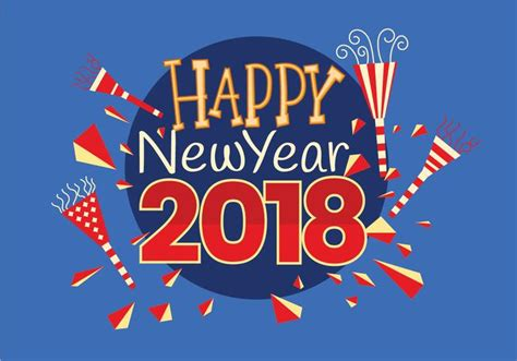 new year 2018 year of the happy new 2018 year greeting card vector free