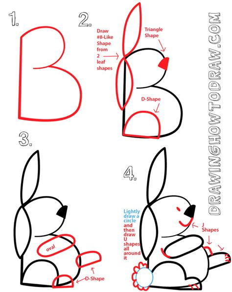 Drawing B Letter by Big Guide To Drawing Bunny Rabbits With Basic