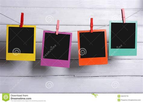 polaroid colors color polaroid photos hanging stock photo image 46416779