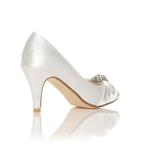 White Bridal Sandals by Ivory White Satin Low Heel Bridal Prom