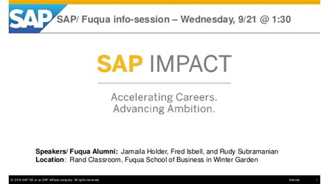 Https Www Slideshare Net Fmisbell Sap Mba Impact Overview 2016 by Sap Fuqua Impact Program Info Session 9 21 16